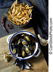 moules-frites, typical Belgian mussels and fries
