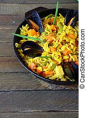 moules, légumes, riz, basmati