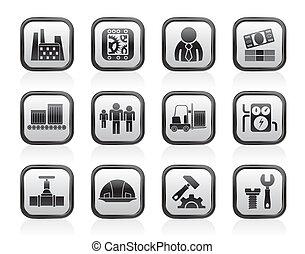 moulin, business, usine, icônes