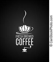 moulin café, tasse, arrière-plan., haricots, noir, logo.