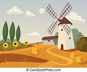 moulin, farm., vecteur, plat, dessin animé, illustration