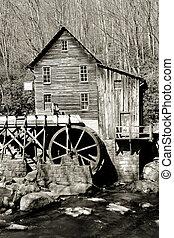 moulin, grist, ruisseau, clairière