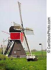moulin, pays-bas, vieux, vent, pittoresque