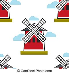 Mill or Moulin rouge French symbol seamless pattern vector France traveling landmark and attraction endless texture building or construction architecture tourism and sightseeing wallpaper print