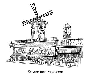 Cabaret Moulin Rouge (Landmark of Paris, France) vector isolated hand drawing illustration in black color on white background