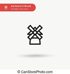 Moulin Rouge Simple vector icon. Illustration symbol design template for web mobile UI element. Perfect color modern pictogram on editable stroke. Moulin Rouge icons for your business project