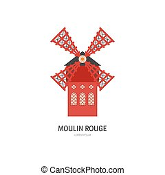 Vector illustration of windmill - building of moulin rouge famous kabare in France