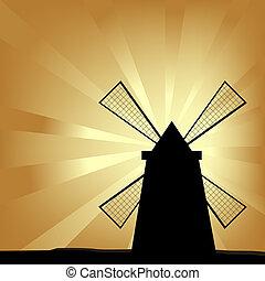 moulin, silhouette, vent