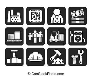 moulin, usine, icônes