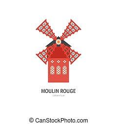 moulin, vector, dibujo, colorete