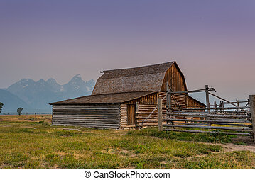 Moulton Barn with Tetons in Background at sunrise