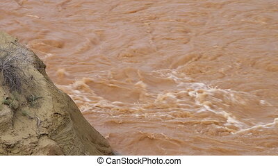 Mound of Mud and Rippling River Water - Steady, close up ...