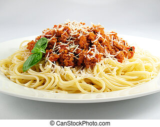 Spaghetti noodles with meat sauce.