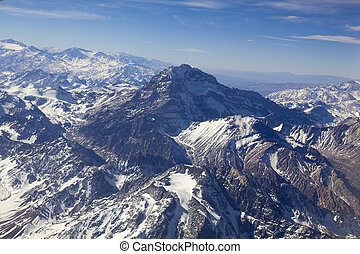 Mount Aconcagua in Mendoza, Andes Mountain Range, border ...