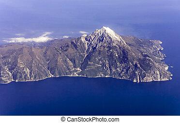 Mount Athos, Greece, aerial view