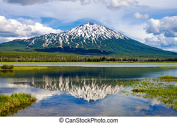 Mount Bachelor and Reflection - View of Mount Bachelor in...