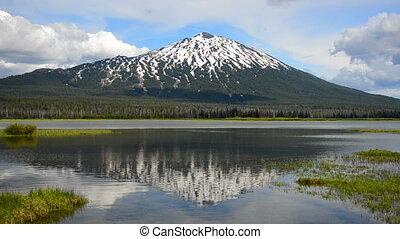 Mount Bachelor Reflection - Reflection of Mount Bachelor in...