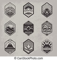 Mount badge set1 - Set of alpinist and mountain climbing...