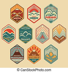 Mount badge set1color - Set of retro-colored alpinist and...