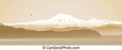 Mount Baker, Washington State panoramic in sepia - Mount...