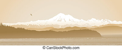Mount Baker, Washington State panoramic in sepia - Mount...
