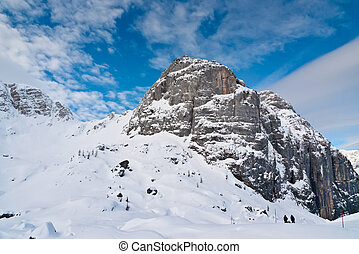 View over mount Bilapec in the Canin group, Sella Nevea, Friuli, Italy