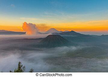 Mount Bromo volcano (Gunung Bromo) during sunrise from ...