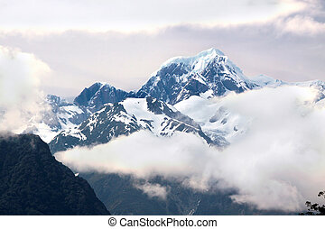Mount Cook covered in clouds, Westland National Park, South...