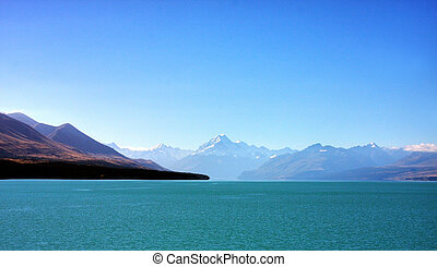 Mount Cook in New Zealand on a blue day