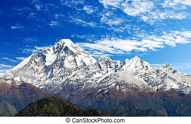 Mount Dhaulagiri with clouds on sky