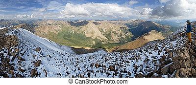 Mount Elbert Summit Panorama - a man on the top of Mount...