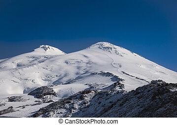 Mount Elbrus and its two peaks. Caucasus, Kabardino-Balkaria, Russian Federation