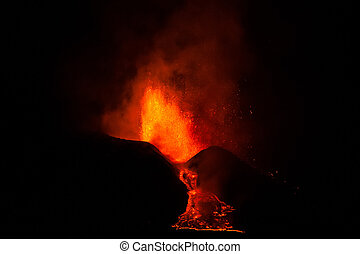 Mount Etna Eruption and lava flow