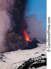 Mount Etna Eruption and lava flow - Eruption and lava flow...