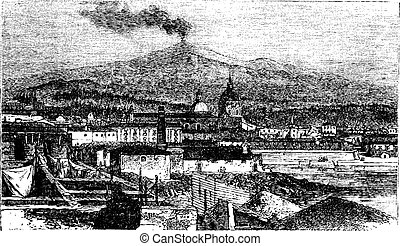 Mount Etna in Sicily, Italy, vintage engraving