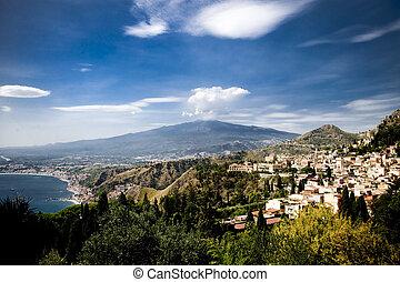 Mount Etna View in Summer