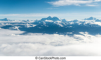 Mount Everest aerial view in Nepal