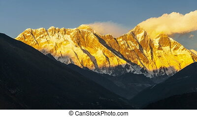 Mount Everest and Lhotse view from Namche Bazaar, Nepal....