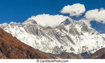 Mount Everest epic aerial wide shot panoramic view of...