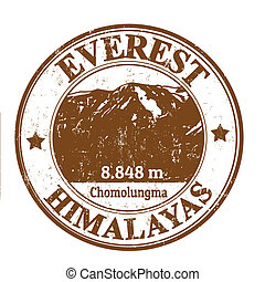 Mount Everest stamp - Grunge rubber stamp with the Mount...