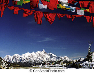 Mount Everest with prayer flags