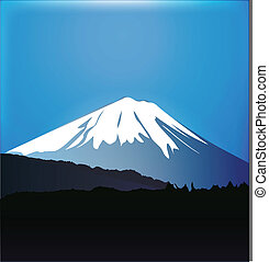 Mount Fuji and Aokigahara forest graphic vector