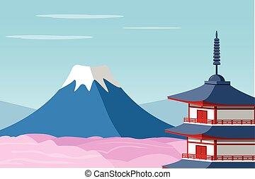 Mount Fuji and Arakura Sengen Jinja Shinto shrine, vector