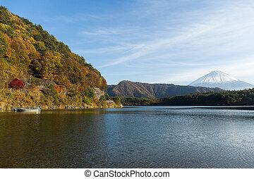 Mount Fuji and lake at autumn