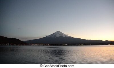 Mount fuji and sunset sky in autumn at kawaguchiko lake yamanashi prefecture japan