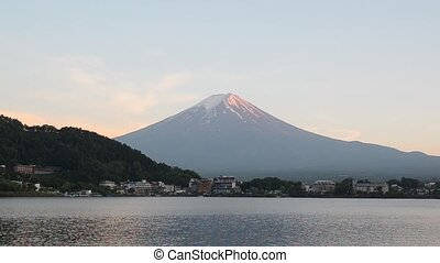 Mount fuji and sunset sky in spring at kawaguchiko lake yamanashi japan