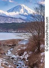 Mount Fuji at Iced Lake Saiko in Winter, Japan