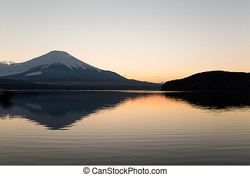 Mount fuji at Lake Yamanaka during sunset