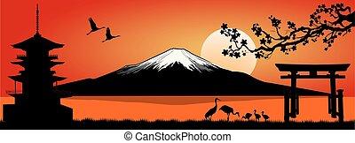 Mount Fuji at sunset - Silhouette Fuji mountain at sunset....