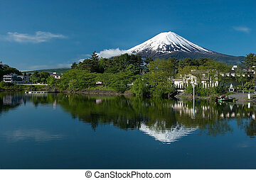 Mount Fuji from Kawaguchiko lake in Japan during the sunrise...